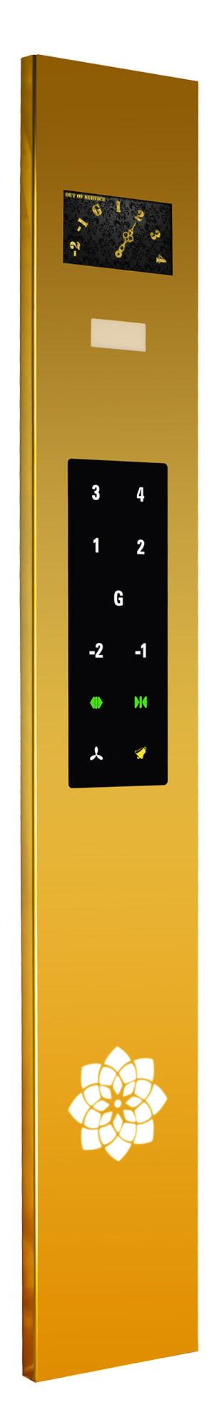 پنل شستی دو متری روکار داخل کابین آسانسور با نمایشگر کلاسیک رنگی 9 اینچ عقربه ای مجهز به کلید های تاچ خازنی (لمسی) - سری ROSA TOUCH - شرکت نوین کیا تک
